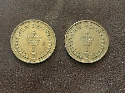 1976 - 1/2 Penny Coins X 2 - Circulated