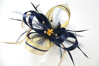 Navy blue & gold lurex fascinator with bead cluster on a comb, clip & alice band