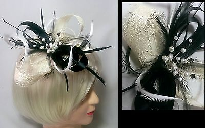 Black and cream fascinator with pearl cluster on comb, Alice band or clip