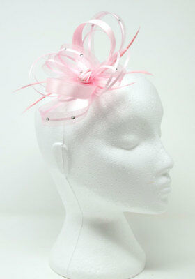 Pink satin fasciantor with diamantè on clip, comb or Alice band