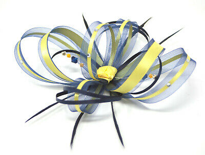 Navy blue and yellow fascinator with diamantè on a clip, comb Alice band