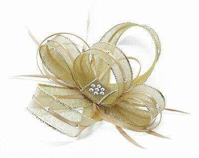 Shimmering gold fascinator with diamanté on a clip, comb and Alice band …
