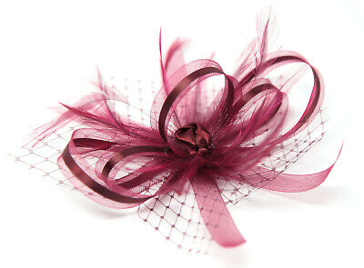 Burgundy wine fascinator with ribbon, net and feathers on a clip, comb and Alice