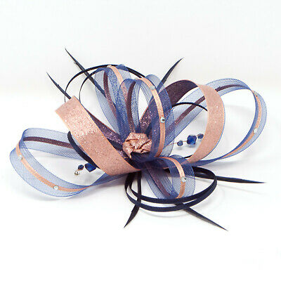 Navy blue and metallic rose gold fascinator with diamantè with comb, clip, & ali