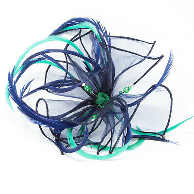Navy blue organza fascinator with emerald green on a clip, comb and Alice band