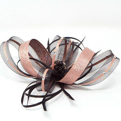 Black and metallic rose gold fascinator with diamantè with comb, clip, & alice