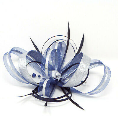 Navy Blue and metallic silver fascinator with diamantè on a comb, clip, & alice
