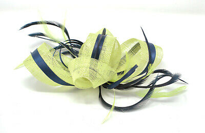 Citrus lime green and black fascinator on an clip, comb and Alice band …