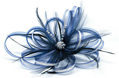 Navy Blue & silver fascinator with sparkling diamantè on clip, comb & Alice band