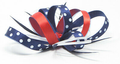 Navy blue, red and white polka dot fascinator with comb, clip, & alice band.
