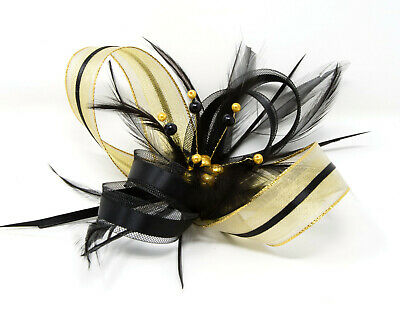 Black and gold lurex fascinator with bead cluster on a comb, clip & alice band