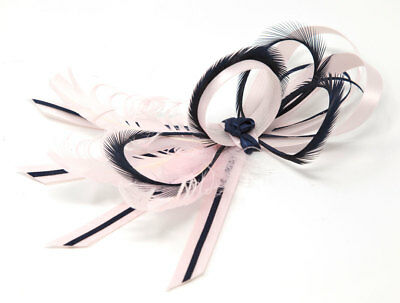 Nude blush pink and navy blue satin fascinator on a clip, comb or Alice band