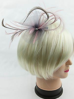 Silver grey and pale pink fascinator on a comb, Alice band or crocodile clip.