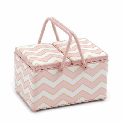 HobbyGift Twin Lid Sewing Basket - Chevron Pearlised Blush