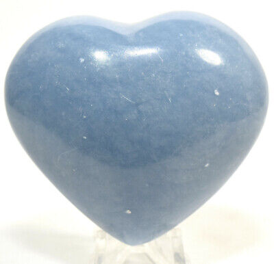 """2.6"""" Peruvian Blue Angelite Puffy Heart Sparkling Natural Crystal Polished Stone"""