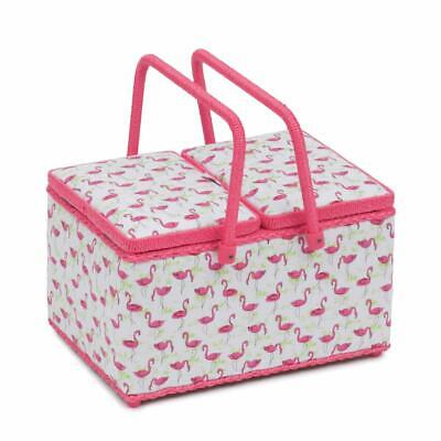 HobbyGift Twin Lid Sewing Basket - Flamingo Flock