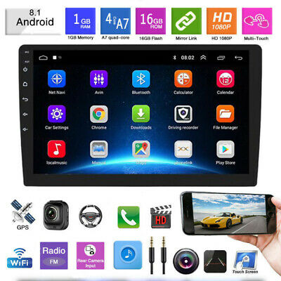 "10.1"" 2Din Android 8.1 Car Radio MP5 GPS Sat Navi WIFI Bluetooth + 2.5D Glass"