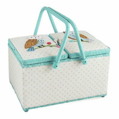 HobbyGift Twin Lid Sewing Basket - Appliqué Owl