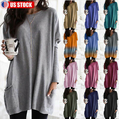 Women Long Sleeve Blouse Tunic Top Lady Loose Sweater Pullover Blouse Plus Size