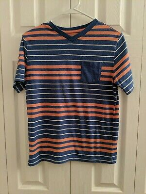 Arizona Jeans Company Short Sleeve V-neck Shirt Blue And Orange Size XL 14/16