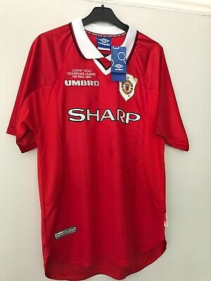 Manchester United Retro Remake Champions League winners shirt 1999 Beckham XL*