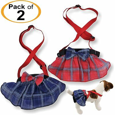 PACK 2 Female Dog Diapers SKIRT Plaid Suspenders Pants Small Large Pet XXS - XXL