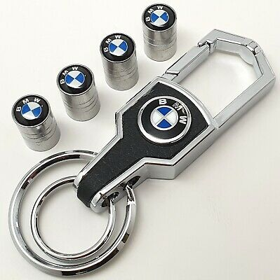 Bmw M Sports Luxury leather keyring keychain fob tyre valve dust caps Gift box