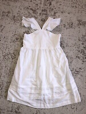 New Zara Kids Girls  White Flutter Sleeve Dress 13-14Y
