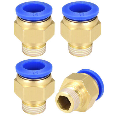 """4 Pcs 3/8"""" G Male Straight Thread 14mm Push In Joint Pneumatic Quick Fittings"""