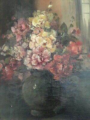 "19TH CENTURY OIL PAINTING:""Floral Bouquet"" On Canvas Gold Framed Beautiful!"