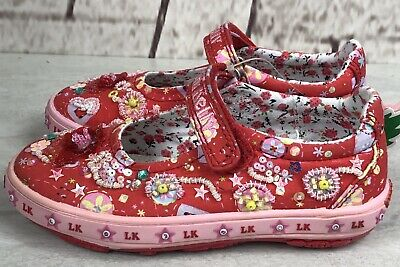 Lelli Kelly Girls Red Mary Jane Beaded Sequin Sneaker Shoes Sz. 27 9.5 M New