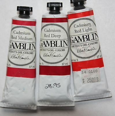 3 Gamblin Oil Paint's-CADMIUM REDS- 37ml-all Series 5