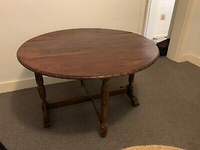 Oak Gate Leg / Drop Leaf (folding) Dining Table - Antique