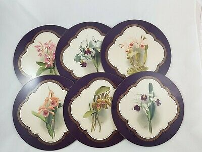 JASON PLACEMATS - Orchids by H.G Moon 6 Round Cork Placemats in Box - Vintage?