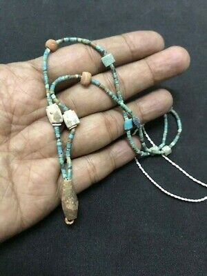 Rare Roman Ancient Afghan Turquoise Shell Old Antique Strand Beads Necklace