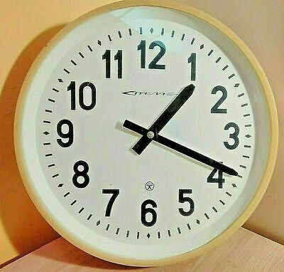 Rare huge soviet electromechanical wall clock Strela. 48 cm. Original. USSR