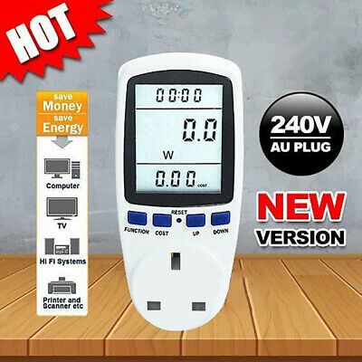 UK Plug Electricity Power Consumption Meter Energy Monitor Watt Kwh Analyzer 13A