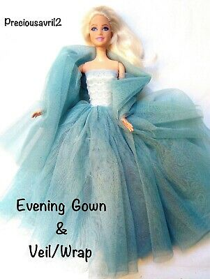 New Barbie doll clothes outfit princess wedding dress gown teal/grey net dress.