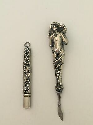 Antique Victorian Sterling Silver Nail File and Cuticle Pusher Set