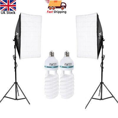 Photography Studio 2x Softbox Kits Continuous Lighting with 2M Light Stand Set
