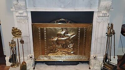 Vintage Large Solid Brass Fire Screen with Maritime theme.