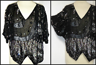 Vintage 7Os Sequinned Silk Butterfly Top Uk 12 14 Art Deco Gatsby