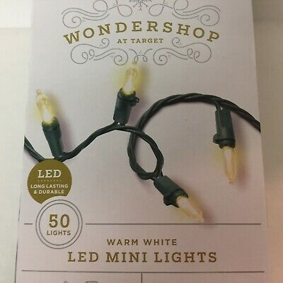 Wondershop 50 Warm White LED Mini Lights Green Wire Christmas Wedding Outdoor