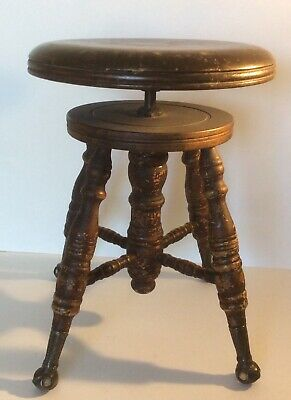 Peachy Vintage Victorian Wood Swivel Turn Adjustable Piano Stool Caraccident5 Cool Chair Designs And Ideas Caraccident5Info