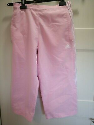 """Adidas Kids Tracksuit Bottoms Joggers  Size 26""""/15 23 pink white stripes cropped"""