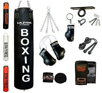 ULTRA FITNESS Heavy 4ft 5ft Filled Boxing Punch Bag set with Ceiling hook