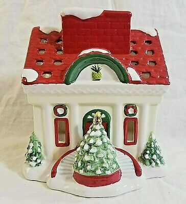 Waterford Holiday Heirlooms Holiday House Candle Votive Ceramic Christmas