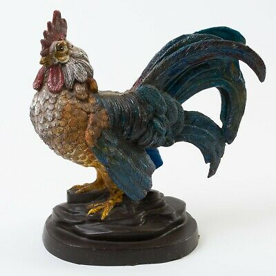 Antique Cast Iron Hand Painted Rooster Cockerel Game Bird Sculpture Statue 10.5""