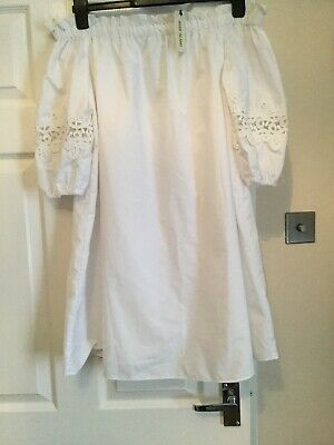 Brand New With Tags River Island White Lined Bardot Dress Size 10 Cost £38