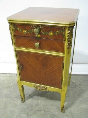 1930's Nightstand Mahogany with Exotic Veneers, Hand Painted & Gilded Accents